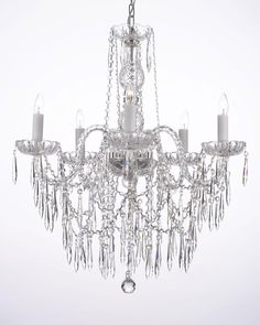 G46-B27/3/384/5 Gallery Murano Venetian Style ALL CRYSTAL CHANDELIER LIGHTING CHANDELIERS W/ CRYSTAL ICICLES!