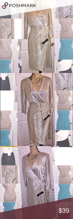 NWT Tahari metallic dress. Tahari wrap dress. Foil like material. Loose fit. Deep V neck. Zip up back. This dress is meant for a special occasion. Buy it and make it yours for a special evening. Tahari Dresses