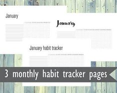 Printable monthly habit tracker pages. Pack of 3 different habit tracker printables. A4, Letter, A5 size printable habit trackers. Monthly.