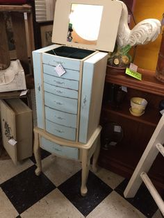 Jewelry armoire, chalk painted and shabby chic for sale at Stars