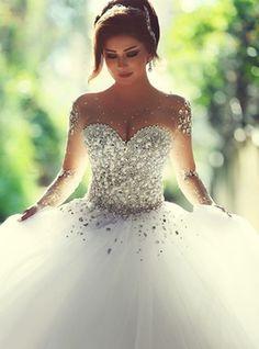 Vestido de noiva Triângulo Invertido Tamanho Médio Estrelado Pomposo