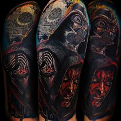 star wars sleeve tattoo, darth vader, darth maul, kylo ren, death star Death Star Tattoo, Star Wars Tattoo, Star Tattoos, Sleeve Tattoos, Cool Tattoos, Awesome Tattoos, English Tattoo, Star Fashion, Tattoo Photos