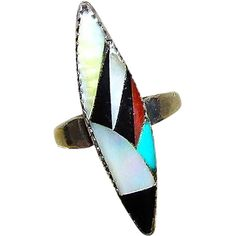 Old Pawn Native American Zuni Sterling Silver Turquoise Coral Mop Jet Inlay Ring in Size 6