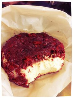Red Velvet Ice Cream Sandwich: Red Velvet Chilly Burger.Cream Cheese ice cream sandwiched between two Red Velvet Chocolate Chip cookies, rolled in Red Velvet Cake Chunks.