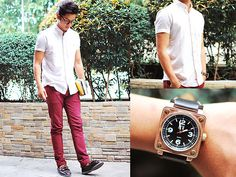 Greater Good Striped Short Sleeve Polo - Burgundy Sky - David Guison