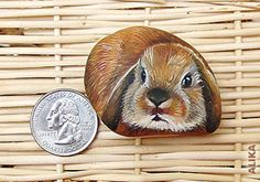 Hand painted rock. Brown lop bunny by Alika-Rikki, via Flickr