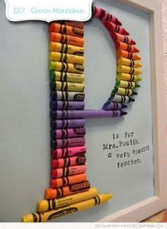 How adorable is this crayon monogram? Perfect to gift to a special teacher but also a really fun idea for a nursery, childs room or play room. Its a very simple DIY project. Print your letter out on a scrap piece of paper. Arrange crayons over letter. Cut crayons individually to length using a sharp knife and cutting board. Glue crayon pieces together using a glue gun.