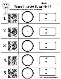 Fun way to practice time by using QR Codes with first graders!