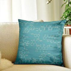 Chemical Molecular Cushion Pillow Cover 12x12 Decorative Cushion Throw Pillow Cover Sofa Pillow Case
