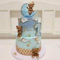 Boa Noite!!!! @cake_studio_rouge 🐻   #boanoite #goodnight #bolosdecorados #urso Torta Angel, Baby Boy Birthday Cake, Fondant, Girl Cakes, Baby Cakes, Moon Cake, Pretty Cakes, Baby Shower Cakes, Cake Pops