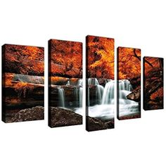 [Framed] Autumn Waterfall Forest Nature Canvas Art Print Picture Wall Home Decor #yearainn #Impressionism