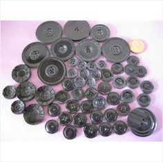 Lot of black plastic deco buttons in various sizes on eBid United Kingdom