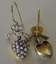 Edwardian 15ct Gold Seed Pearl Heart Bow Earrings