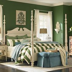 COLOR A green bedroom is a calming area and the color of green is believed to improve the chance of fertility which is perfect for a bedroom.
