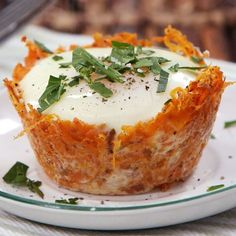 Try making this healthy recipe for sweet potato egg nests for your next brunch! Watch the video for the demonstration. | Health.com