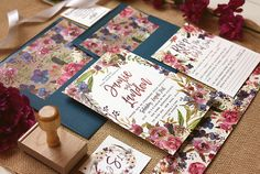 Purple Fall Wedding Invitation Set  Rustic Floral Autumn