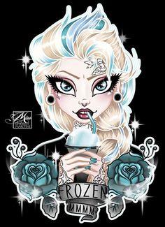 Elsa by Miss Cherry Martini Frozen Tattoo Girls Wall Canvas Art Print