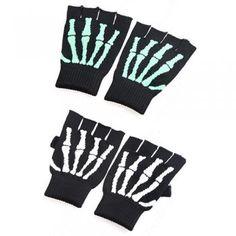 Gants de taille moyenne tricot d'hiver chauds Fingerless avec élasticité Demi Gants Mitaines-Vert Motif Squelette Deathr