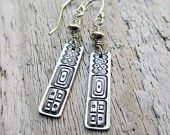 Silver Geometric Earrings - PMC, Fine Silver, Sterling Silver, Rectangle, Tribal, Column, Sticks