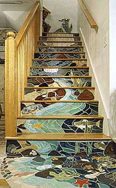 Modern tiles are great material for house exterior design, outdoor space and interior decorating that is practical and very attractive. Modern tile designs can Mosaic Stairs, Tiled Staircase, Wallpaper Staircase, Tile Stairs, Basement Stairs, Staircase Design, Mosaic Art, Mosaic Glass, Mosaic Tiles