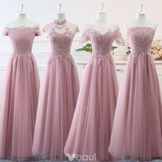 Bridesmaid Dresses Affordable Blushing Pink Bridesmaid Dresses 2019 A-Line / Princess Appliques Lace Floor-Length / Long Ruffle Backless Wedding Party Dresses - Pretty Dresses, Sexy Dresses, Fashion Dresses, Girls Dresses, Fashion 2018, Women's Fashion, Dress Outfits, Dress Shoes, Shoes Heels