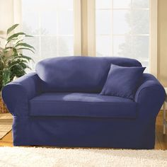 surefit twill supreme loveseat slipcover box cushion