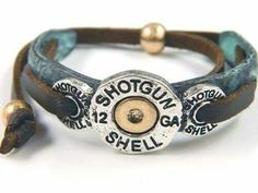 Cowgirl 12 Gauge Shot Gun Shell Leather on Patina Tie Bracelet. LOVE these Bracelets. The Spent Shell Jewelry is more popular than ever! Shotgun Shell Crafts, Shotgun Shell Jewelry, Ammo Jewelry, Metal Jewelry, Shotgun Shells, Jewellery, Jewelry Holder, Diy Jewelry, Jewelry Necklaces