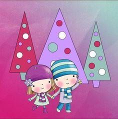 Niños entre árboles de Navidad de colores