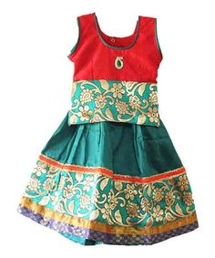 Traditional kids pattu pavadai lehenga for 1 year princess - Rs 825 - Free shipping all over India - http://www.princenprincess.in/index.php/home/product/284/Red%20green%20royal%20pavadai