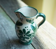Vintage Green Floral Mini Handled Pitcher Creamer Ceramic Hand painted Made in…