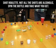 Shot roulette! Not all the shots are alcoholic-- some can be juices, sodas, etc. Fun take on the other game!