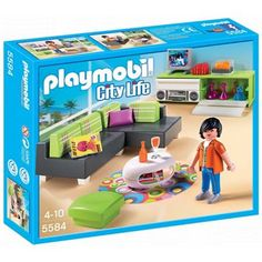 the playmobil modern living room has many cool features including a very stylish looking sofa - Playmobil Maison Moderne 4279