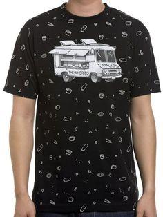 T-shirt noir The Hundreds avec imprimé tacos en All Over et camion devant.