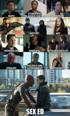 I love that Steve and Bucky are history, Vision's English, and Wanda's art, and then there's just deadpool being deadpool