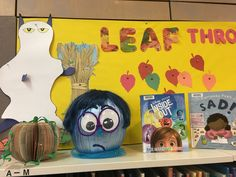 Inside Out Sadness pumpkin library display Hallowe'en library display