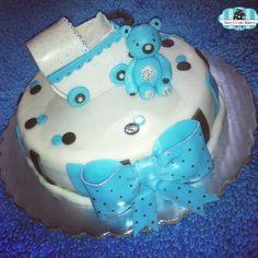 Pastel de Osito y Carreola para Baby Shower - Baby Shower Cake