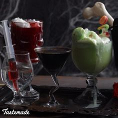 Have a spooky good Halloween party with these four deadly delicious elixirs sure to scare up a crowd.