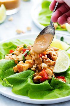 Easy Thai Peanut Chicken Lettuce Wraps | Creme de la Crumb