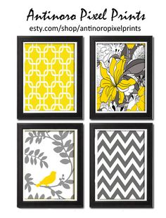 Unframed Vintage Modern Yellow Floral Bird Art Print  - Set of Four 8x11 Print Featured in Yellow Grey White  Nursery