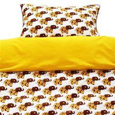 Blafre dekbedovertrek 1 persoon bruin/geel olifanten