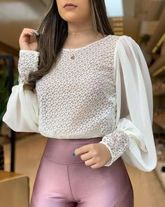 Popper Cuff Mesh Ruched Sleeve Blouse Women's Online Shopping Offering Huge Discounts on Dresses, Lingerie , Jumpsuits , Swimwear, Tops and More. Stylish Outfits, Cute Outfits, Summer Outfits, Plus Size Swimsuits, Pattern Fashion, Casual Tops, Blouses For Women, Women's Blouses, Ladies Blouses