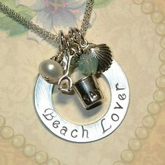 Beach Lover Hand Stamped Sterling Silver Necklace by #Dolphinmooncreations.com #beachnecklace #beachjewelry #beachlover