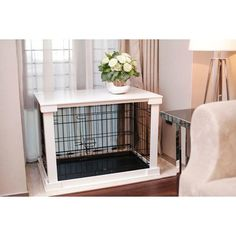 "Pet Crate - would love to build a wooden ""cover"" like this for puppy's crate."