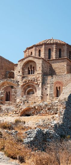Greece Travel Inspiration - Agia Sofia Church on the Rock of Monemvasia Byzantine Architecture, Church Architecture, Monemvasia Greece, Myconos, Santorini, Place Of Worship, Kirchen, Greece Travel, Greek Islands
