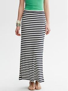 Striped Knit Column Skirt / Banana Republic