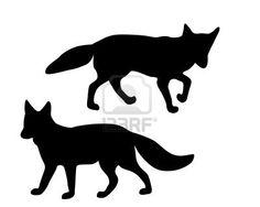 The black silhouettes of two foxes on white Stock Photo - 4327730