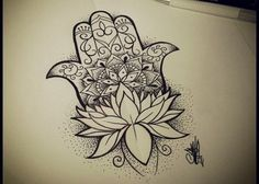 This on my black in grey arm! Redo the hampsa hand.. Shade in the flower