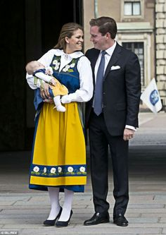 Princess Madeleine,  Chris O'Neill & Leonore Dressed For Sweden's National Day, June 6, A Few Days Before Leonore' Christening June 8, 2014.