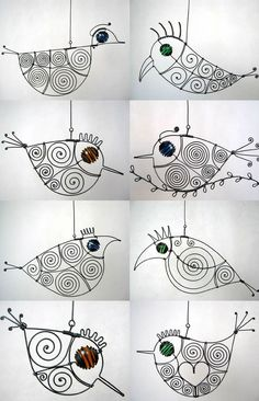 .wire birdies  Heaps of links for awesome art ideas