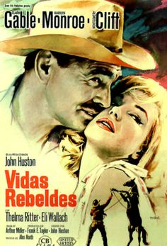 THE MISFITS (1960) - Clark Gable - Marilyn Monroe - Montgomery Clift - Thelma Ritter - Eli Wallach - Directed by John Huston - Spanish movie poster.